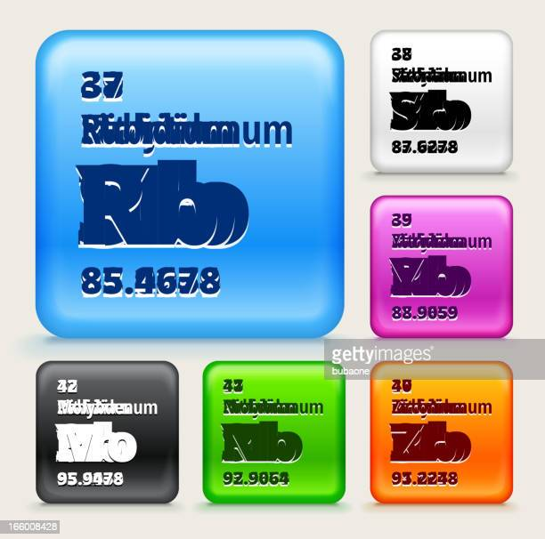 Periodic Table Elements (37-42) on Color Buttons EPS10 Transparency