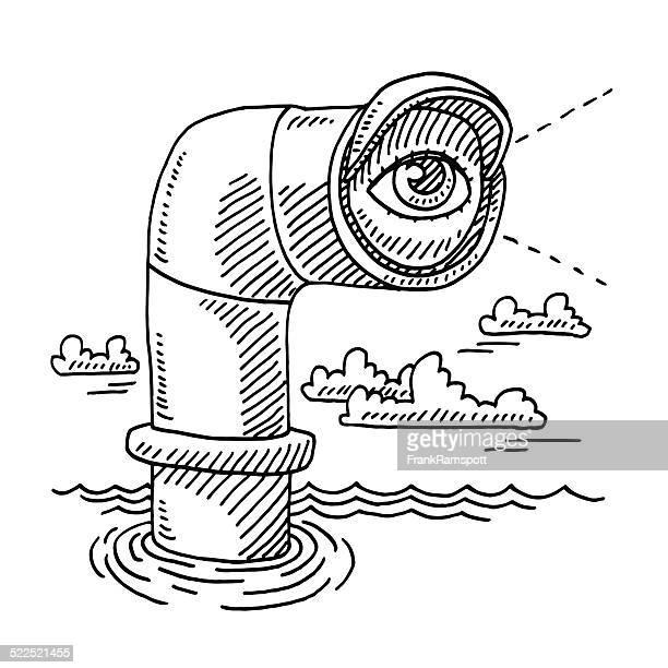 periskop eye exploration zeichnung - federzeichnung stock-grafiken, -clipart, -cartoons und -symbole