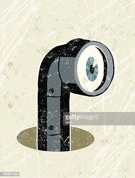 periscope peering out of a hole - submarine stock illustrations