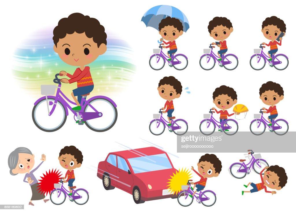 perm hair boy_city bicycle