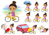 perm hair girl_city bicycle