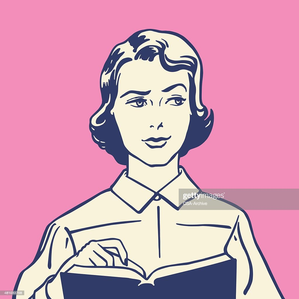 Perplexed Woman With Book : stock illustration