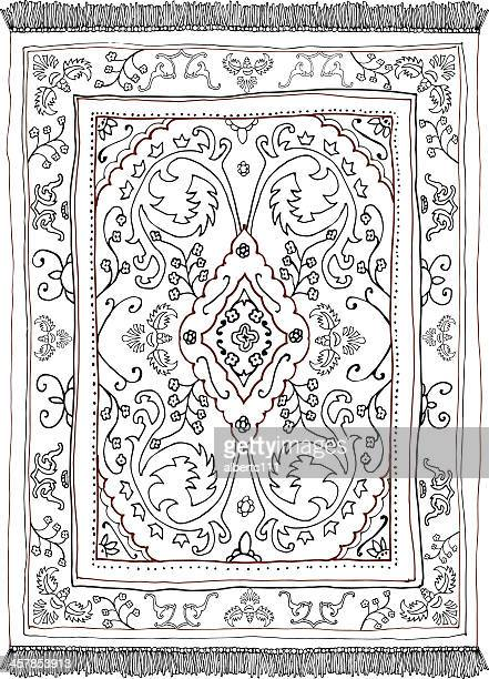 persian carpet - hand drawn - iranian culture stock illustrations, clip art, cartoons, & icons