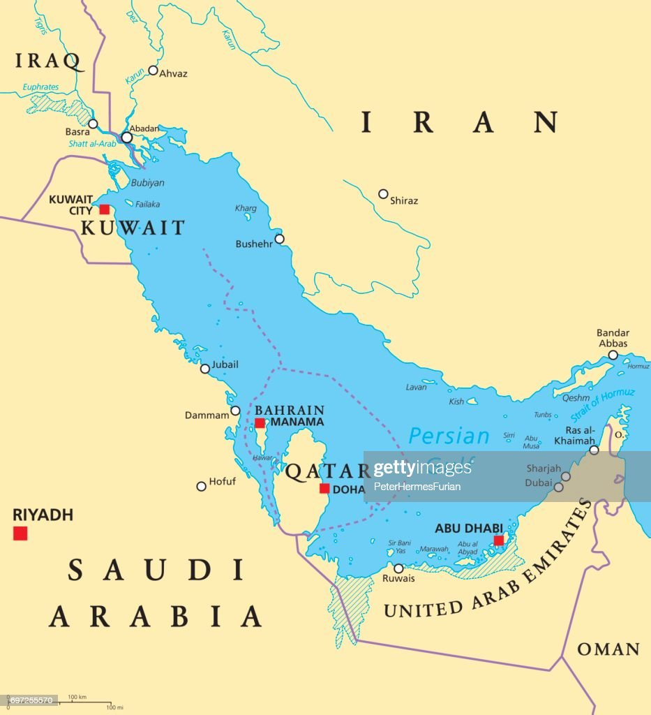 Persian Gulf region political map