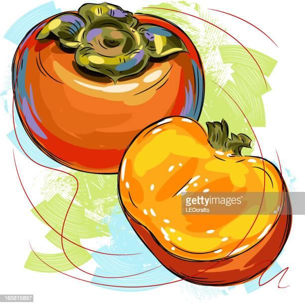 60点の柿のイラスト素材クリップアート素材マンガ素材アイコン素材