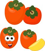 Persimmon with leaves whole and slices of persimmons. Vector illustration of persimmon. Funny cartoon character. Illustration for decorative poster, emblem natural product, farmers market.