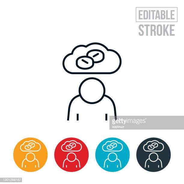 person addicted to opioids thin line icon - editable stroke - anti depressant stock illustrations