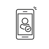 Person and checkmark on mobile phone icon vector, line outline smartphone user accepted symbol and tick, approved identity or cellphone validation, authorized or verified member
