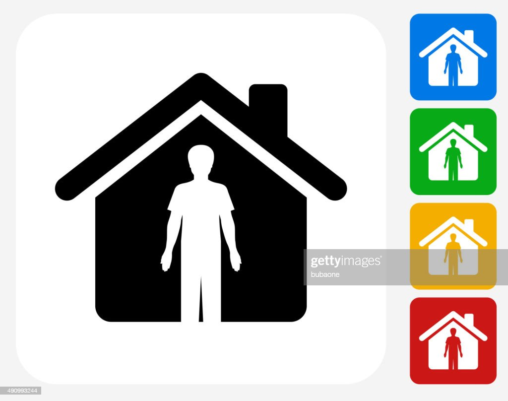 Person And Home Icon Flat Graphic Design Vector Art | Getty Images
