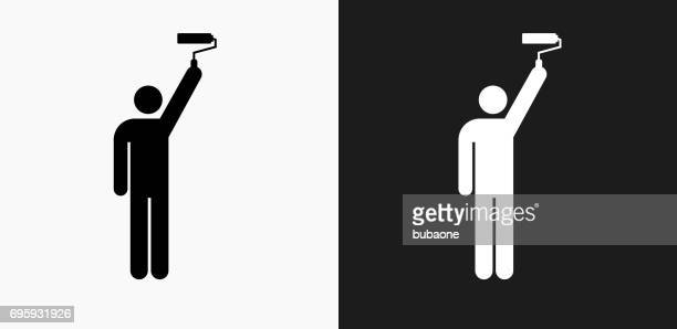 Person and Paint Roller Icon on Black and White Vector Backgrounds