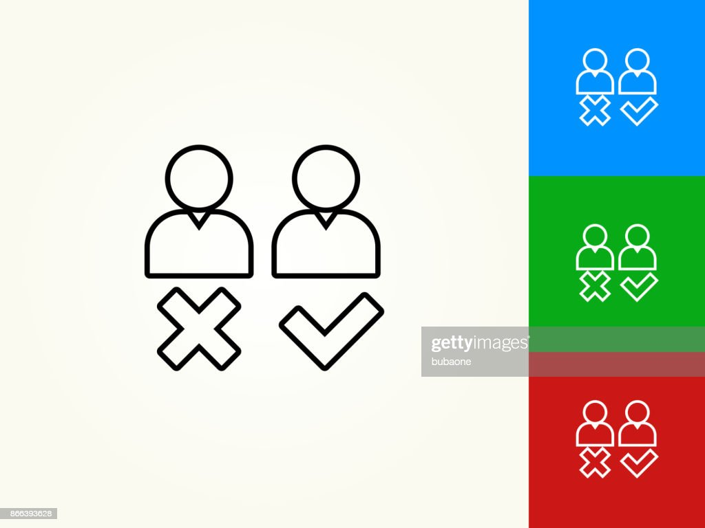 person approval and rejection black stroke linear icon vector art