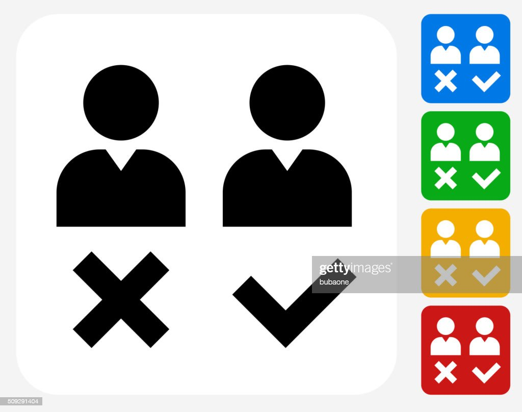 person approval and rejection icon flat graphic design vector art