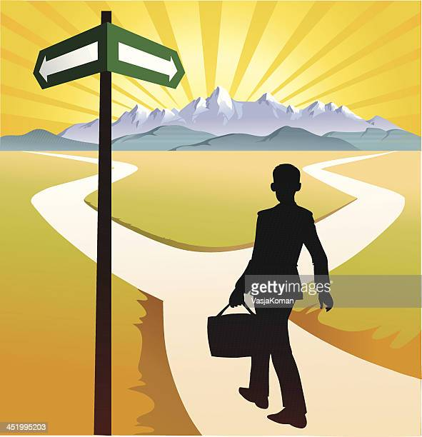 person at the crossroads - crossroad stock illustrations, clip art, cartoons, & icons