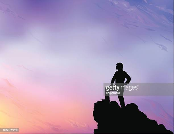 person at the lookout point looking at the scenery - rock climbing stock illustrations, clip art, cartoons, & icons