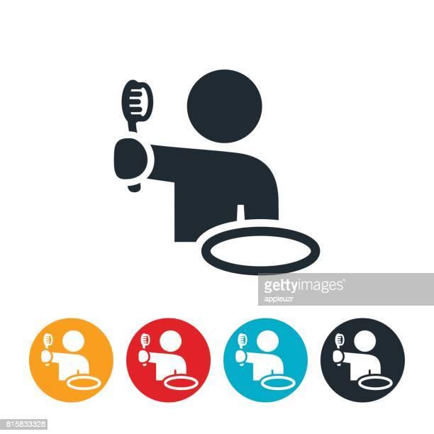 person brushing teeth icon - brushing teeth stock illustrations