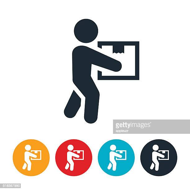 person carrying package icon - carrying stock illustrations