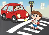Person child crossing the street in the crosswalk, still waiting car