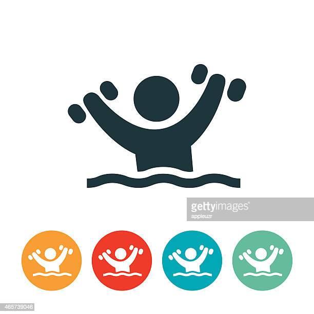 person doing water aerobics icon - water aerobics stock illustrations, clip art, cartoons, & icons
