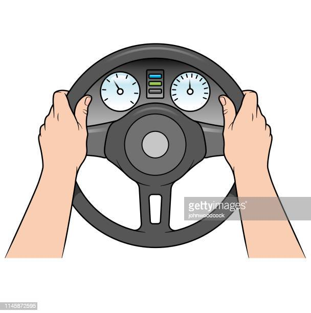 Person driving a car illustration