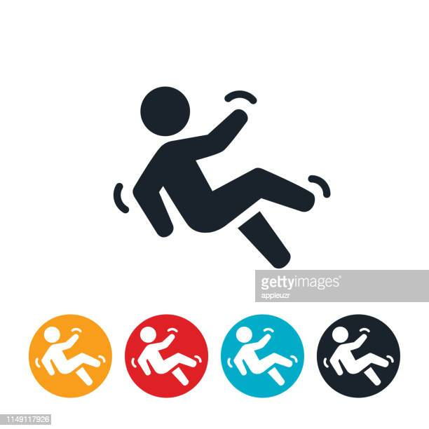 person falling icon - tripping falling stock illustrations
