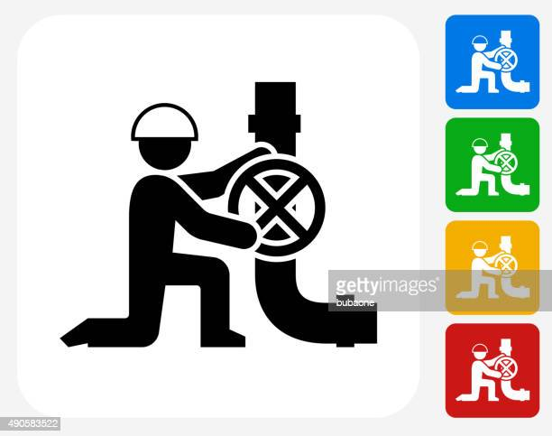 Person Fixing Pipes Icon Flat Graphic Design