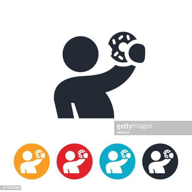 person holding doghnut icon - donut stock illustrations, clip art, cartoons, & icons