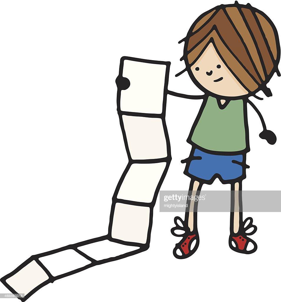 Person holding long list : stock illustration