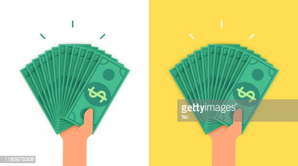 person holding lots of money - human limb stock illustrations