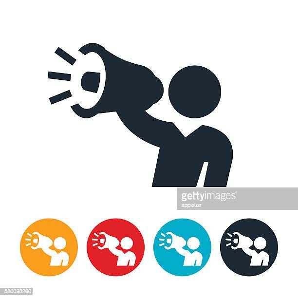 stockillustraties, clipart, cartoons en iconen met person holding megaphone icon - eén persoon