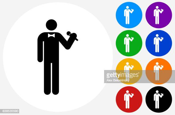 Person Holding Microphone Icon on Flat Color Circle Buttons