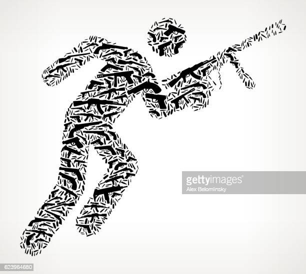 Person Holding Paintball Gun Gun Black Icon Pattern Background