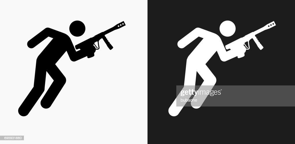 Person Holding Paintball Gun Icon on Black and White Vector Backgrounds : Vector Art