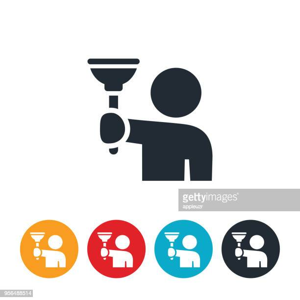 person holding plunger icon - plunger stock illustrations, clip art, cartoons, & icons