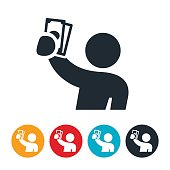 Person Holding Up Cash Icon