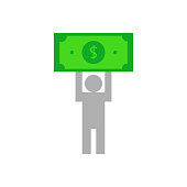 Person icon with dollar. vector illustration