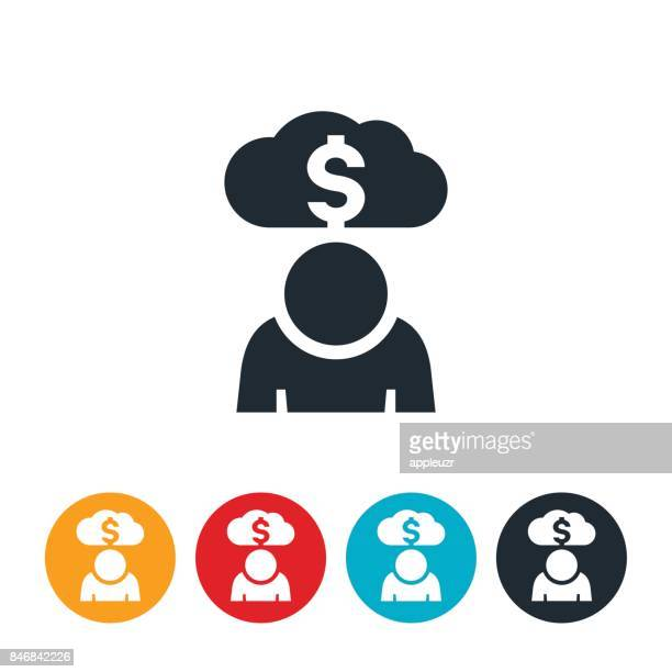person in debt icon - borrowing stock illustrations