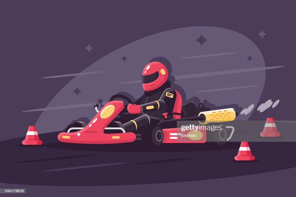 Person in protective suit on race car rides on karting.
