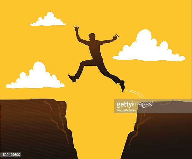 person jumping over the gap - high up stock illustrations, clip art, cartoons, & icons