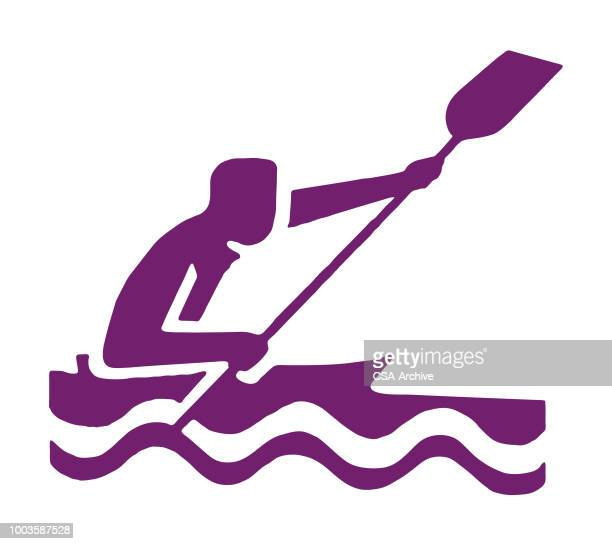 person kayaking - kayak stock illustrations