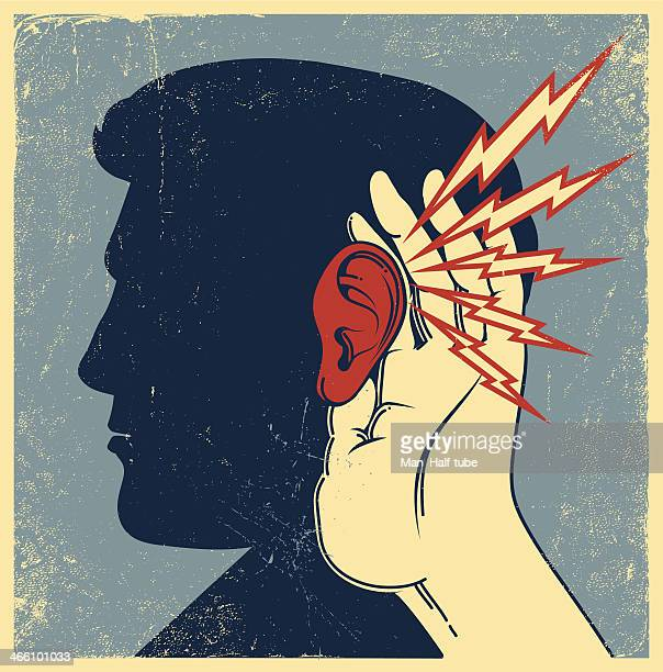 person listening - ear stock illustrations