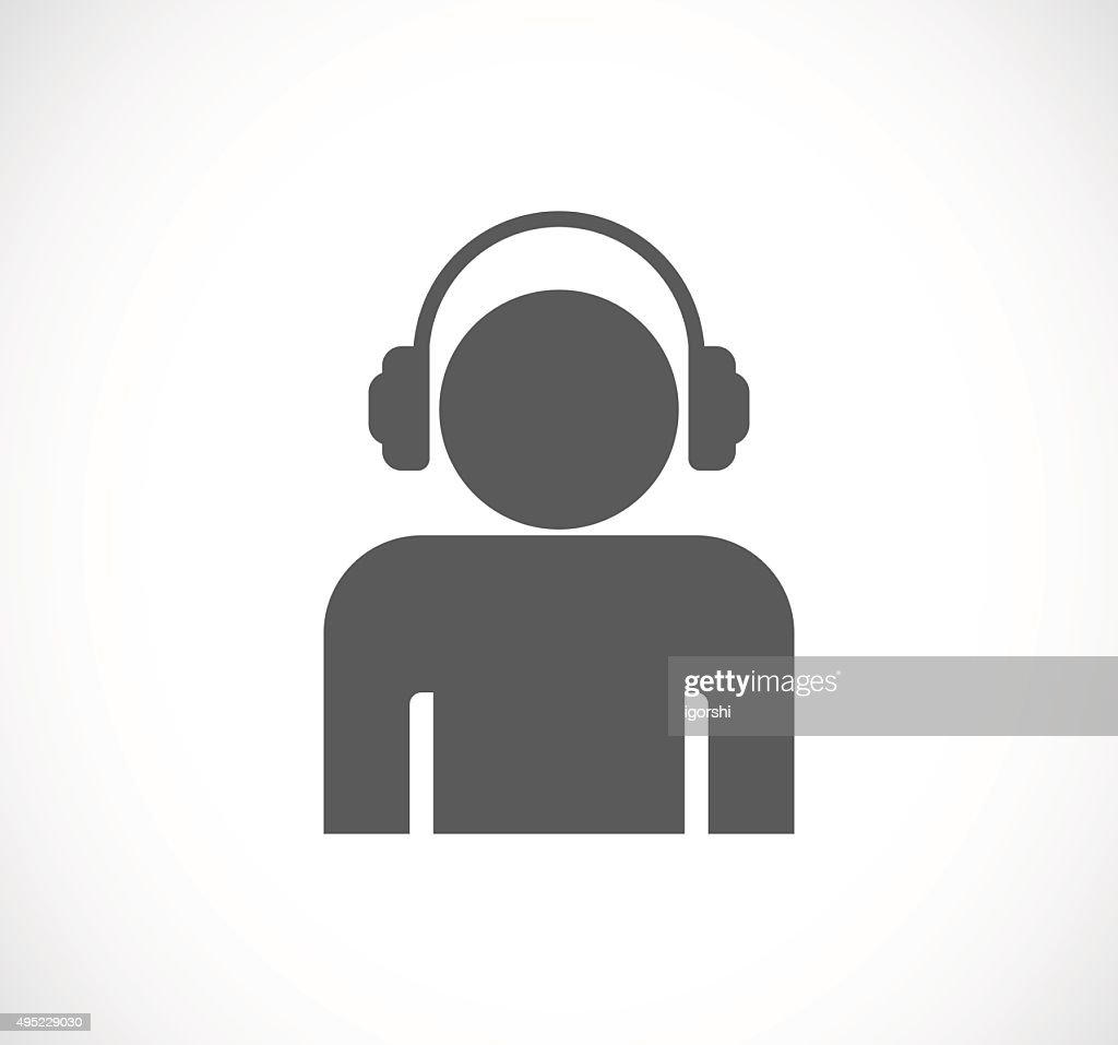 person man with headphones icon