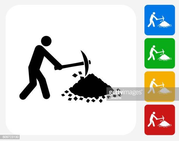 人の採鉱グラフィックデザインアイコンフラット - 掘る点のイラスト素材/クリップアート素材/マンガ素材/アイコン素材