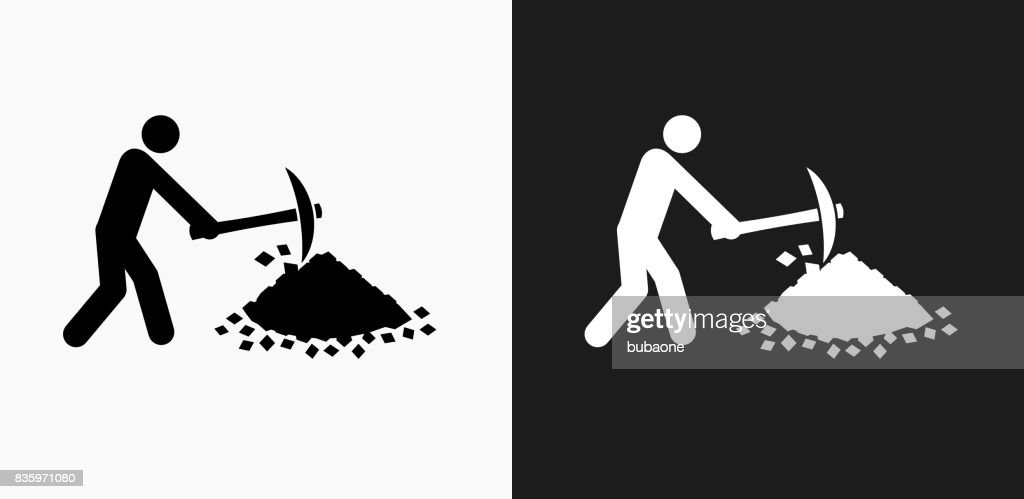 Person Mining Icon on Black and White Vector Backgrounds