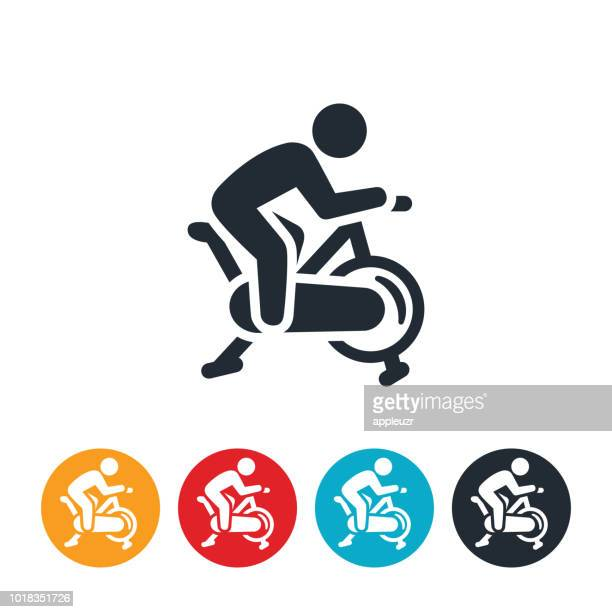 person on a exercise bike icon - cardiovascular exercise stock illustrations, clip art, cartoons, & icons