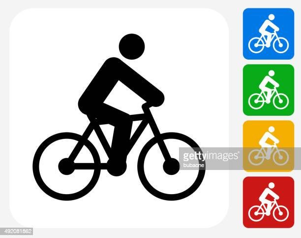 Person on the Bike Icon Flat Graphic Design