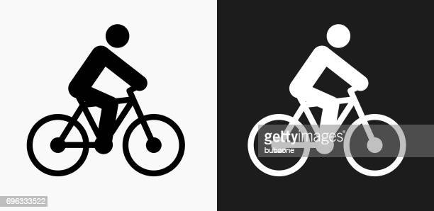 illustrazioni stock, clip art, cartoni animati e icone di tendenza di person on the bike icon on black and white vector backgrounds - tempo turno sportivo