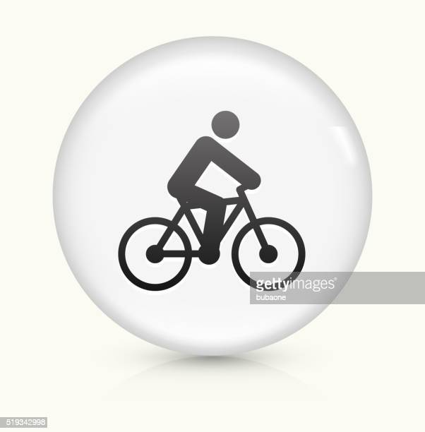 Person on the Bike icon on white round vector button