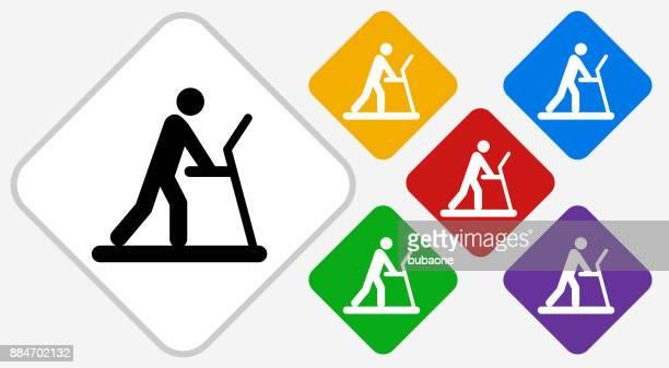 Person on The Treadmill Color Diamond Vector Icon