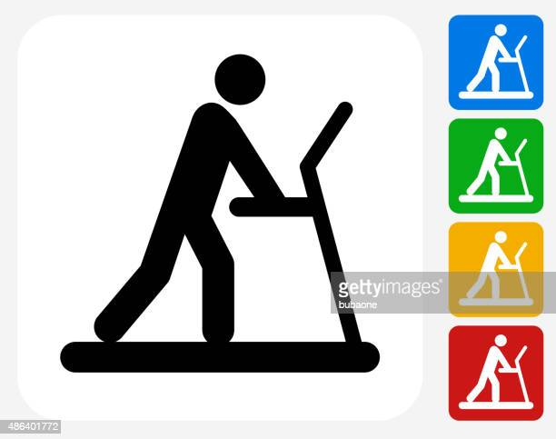 Person on The Treadmill Icon Flat Graphic Design
