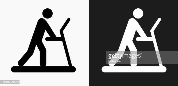 Person on The Treadmill Icon on Black and White Vector Backgrounds